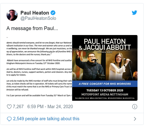 Twitter post by @PaulHeatonSolo: A message from Paul...