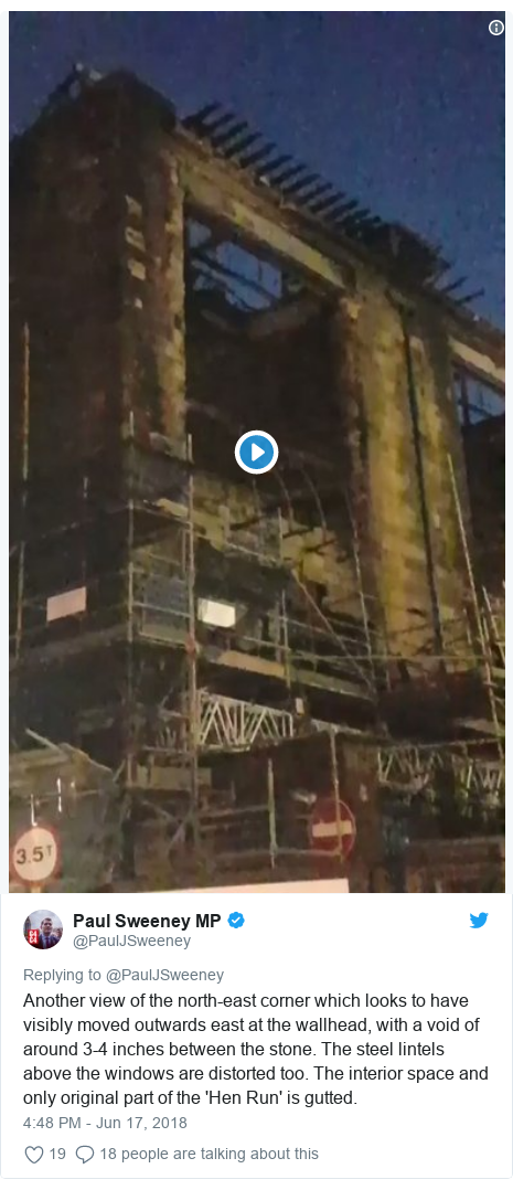 Twitter post by @PaulJSweeney: Another view of the north-east corner which looks to have visibly moved outwards east at the wallhead, with a void of around 3-4 inches between the stone. The steel lintels above the windows are distorted too. The interior space and only original part of the 'Hen Run' is gutted.