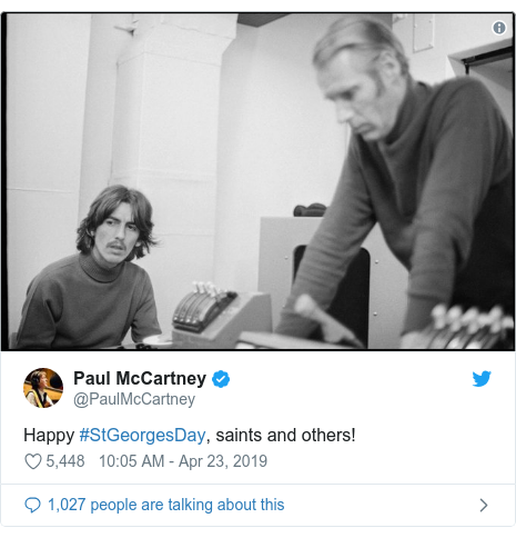 Twitter post by @PaulMcCartney: Happy #StGeorgesDay, saints and others!