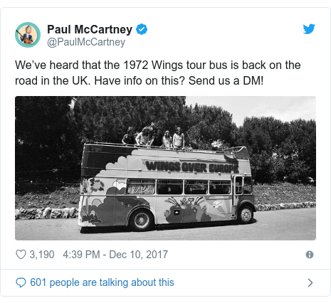 Twitter post by @PaulMcCartney: We've heard that the 1972 Wings tour bus is back on the road in the UK. Have info on this? Send us a DM!
