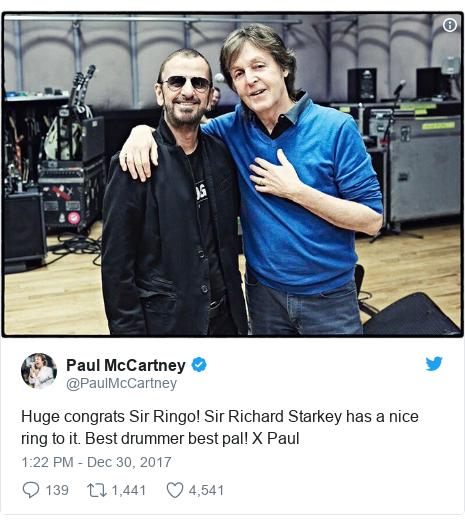 Twitter post by @PaulMcCartney: Huge congrats Sir Ringo! Sir Richard Starkey has a nice ring to it. Best drummer  best pal! X Paul