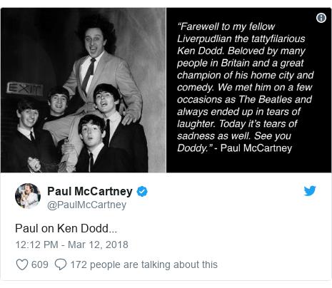 Twitter post by @PaulMcCartney: Paul on Ken Dodd...