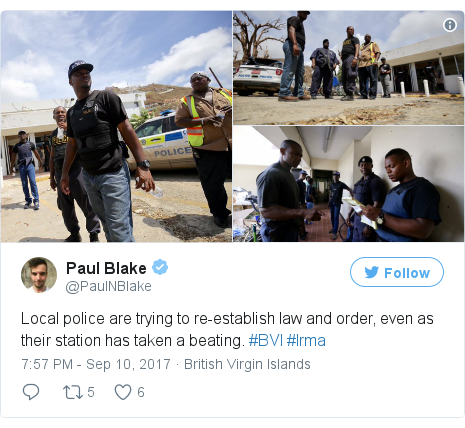 Twitter post by @PaulNBlake: Local police are trying to re-establish law and order, even as their station has taken a beating. #BVI #Irma pic.twitter.com/NOwbK53Uto