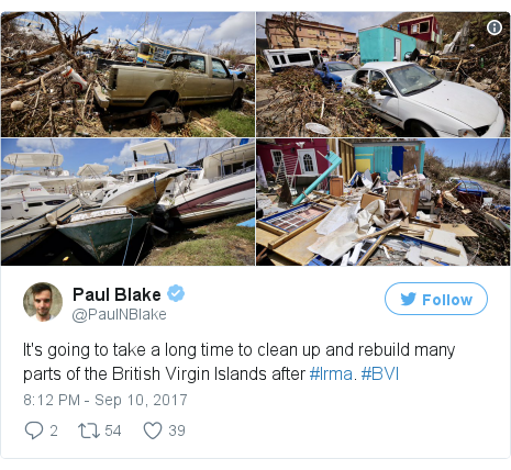 Twitter post by @PaulNBlake: It's going to take a long time to clean up and rebuild many parts of the British Virgin Islands after #Irma. #BVI pic.twitter.com/HKLzlv9xt2