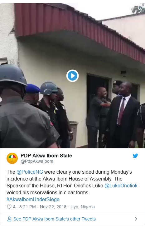 Twitter post by @PdpAkwaIbom: The @PoliceNG were clearly one sided during Monday's incidence at the Akwa Ibom House of Assembly. The Speaker of the House, Rt Hon Onofiok Luke @LukeOnofiok voiced his reservations in clear terms. #AkwaIbomUnderSiege