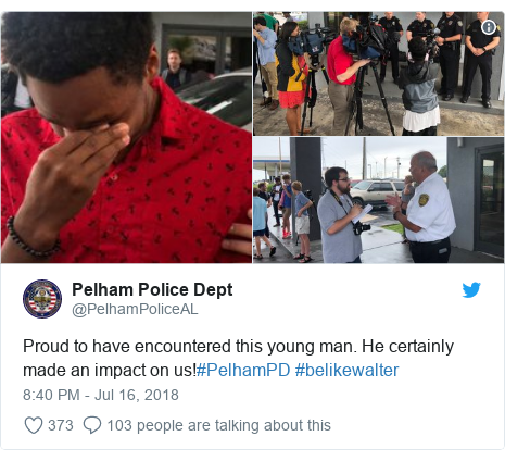 Twitter post by @PelhamPoliceAL: Proud to have encountered this young man. He certainly made an impact on us!#PelhamPD #belikewalter