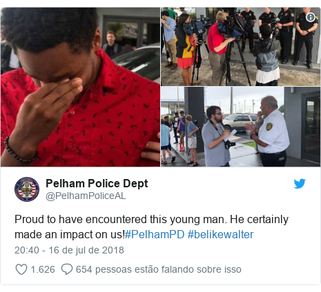 Twitter post de @PelhamPoliceAL: Proud to have encountered this young man. He certainly made an impact on us!#PelhamPD #belikewalter