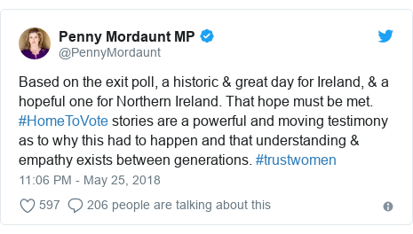 Twitter post by @PennyMordaunt: Based on the exit poll, a historic & great day for Ireland, & a hopeful one for Northern Ireland. That hope must be met. #HomeToVote stories are a powerful and moving testimony as to why this had to happen and that understanding & empathy exists between generations. #trustwomen