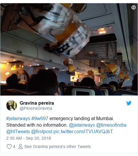 Twitter post by @PereiraGravina: #jetairways #9w697 emergency landing at Mumbai. Stranded with no information. @jetairways @timesofindia @htTweets @firstpost