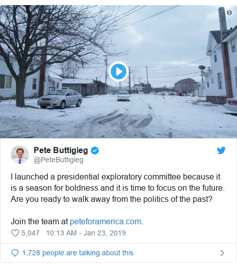 Twitter post by @PeteButtigieg: I launched a presidential exploratory committee because it is a season for boldness and it is time to focus on the future. Are you ready to walk away from the politics of the past?Join the team at .