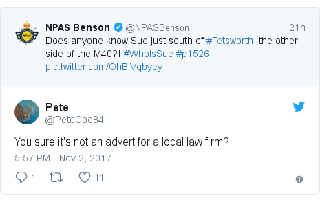 Twitter post by @PeteCoe84: You sure it's not an advert for a local law firm?