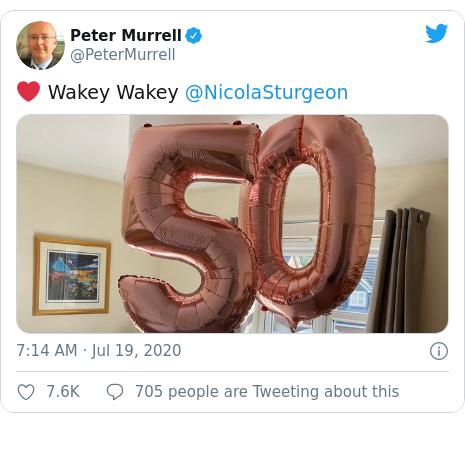 Twitter post by @PeterMurrell: ❤️ Wakey Wakey @NicolaSturgeon
