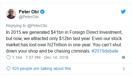 Twitter post by @PeterObi: In 2015 we generated $41bn in Foreign Direct Investment, but now, we attracted only $12bn last year. Even our stock market has lost over N2Trillion in one year. You can't shut down your shop and be chasing criminals. #2019debate