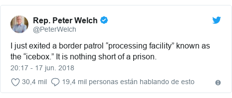 "Publicación de Twitter por @PeterWelch: I just exited a border patrol ""processing facility"" known as the ""icebox."" It is nothing short of a prison."