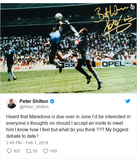 Twitter post by @Peter_Shilton: Heard that Maradona is due over in June I'd be interested in everyone's thoughts on should I accept an invite to meet him I know how I feel but what do you think ??? My biggest debate to date !