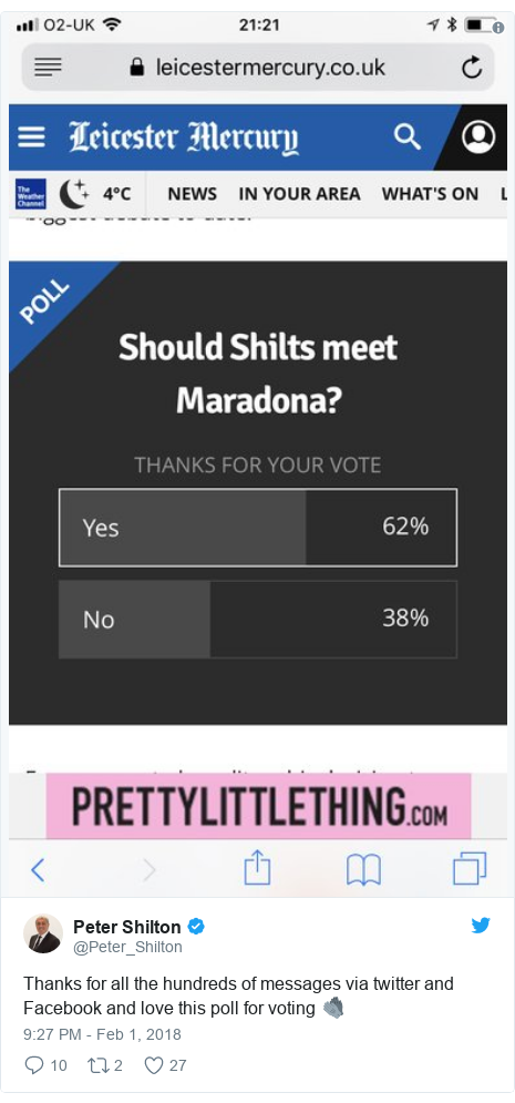 Twitter post by @Peter_Shilton: Thanks for all the hundreds of messages via twitter and Facebook and love this poll for voting 🧤