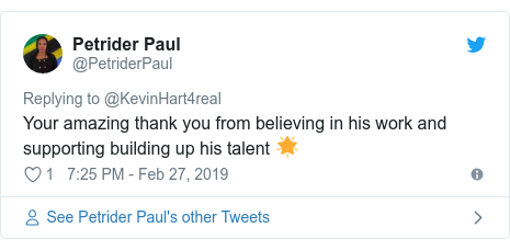 Twitter post by @PetriderPaul: Your amazing thank you from believing in his work and supporting building up his talent 🌟