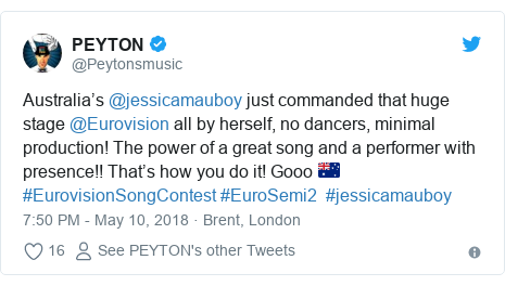 Twitter post by @Peytonsmusic: Australia's @jessicamauboy just commanded that huge stage @Eurovision all by herself, no dancers, minimal production! The power of a great song and a performer with presence!! That's how you do it! Gooo 🇦🇺 #EurovisionSongContest #EuroSemi2  #jessicamauboy