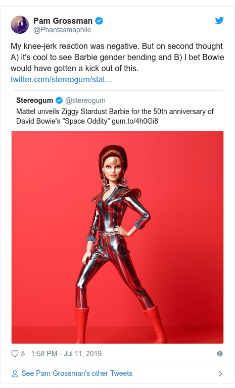 Twitter post by @Phantasmaphile: My knee-jerk reaction was negative. But on second thought A) it's cool to see Barbie gender bending and B) I bet Bowie would have gotten a kick out of this.