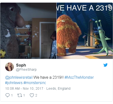 Twitter post by @PheeSharp: @johnlewisretail We have a 2319!! #MozTheMonster #johnlewis #monstersinc