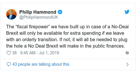 "Twitter post by @PhilipHammondUK: The ""fiscal firepower"" we have built up in case of a No-Deal Brexit will only be available for extra spending if we leave with an orderly transition. If not, it will all be needed to plug the hole a No Deal Brexit will make in the public finances."