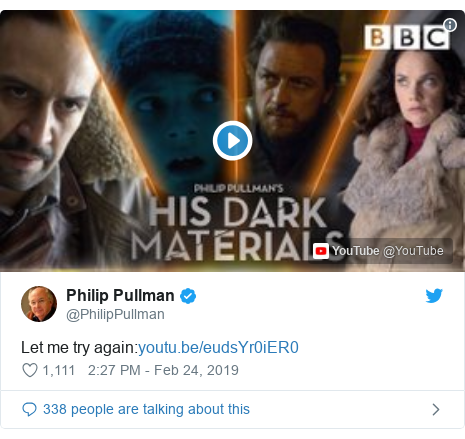 Twitter post by @PhilipPullman: Let me try again