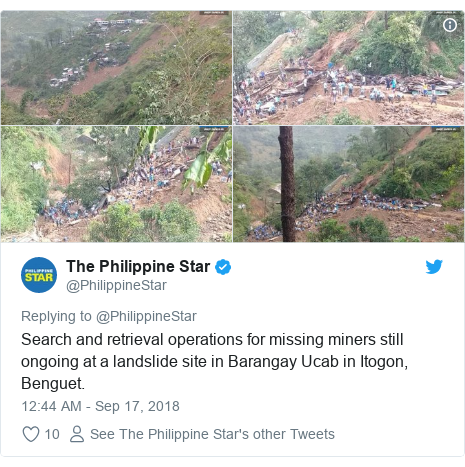 Twitter post by @PhilippineStar: Search and retrieval operations for missing miners still ongoing at a landslide site in Barangay Ucab in Itogon, Benguet.
