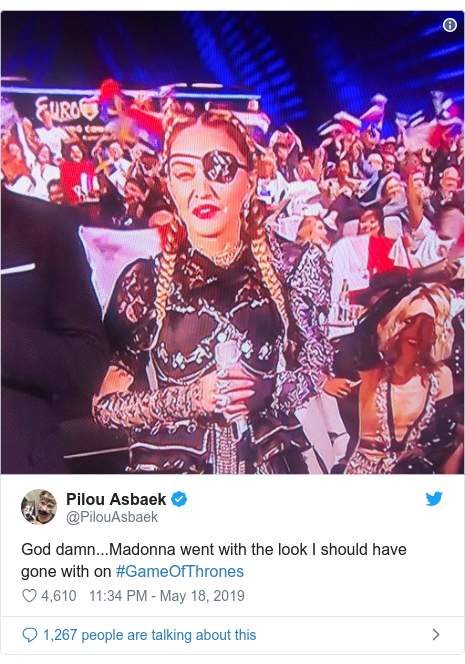 Twitter post by @PilouAsbaek: God damn...Madonna went with the look I should have gone with on #GameOfThrones