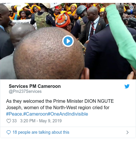 Twitter post by @Pm237Services: As they welcomed the Prime Minister DION NGUTE Joseph, women of the North-West region cried for #Peace.#Cameroon#OneAndIndivisible