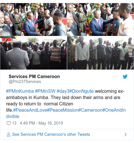 Twitter post by @Pm237Services: #PMinKumba #PMinSW #day3#DionNgute welcoming ex-ambaboys in Kumba. They laid down their arms and are ready to return to  normal Citizen life.#PeaceAndLove#PeaceMission#Cameroon#OneAndIndivible