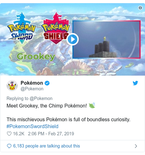 Twitter post by @Pokemon: Meet Grookey, the Chimp Pokémon! 🍃 This mischievous Pokémon is full of boundless curiosity. #PokemonSwordShield