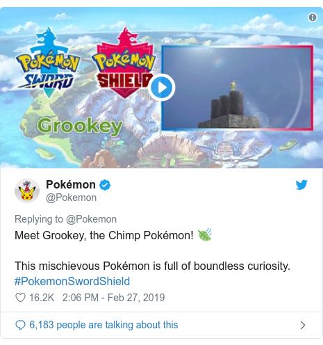 Twitter post by @Pokemon: Meet Grookey, the Chimp Pokémon! 🍃 This mischievous Pokémon is full of boundless curiosity. #PokemonSwordShield