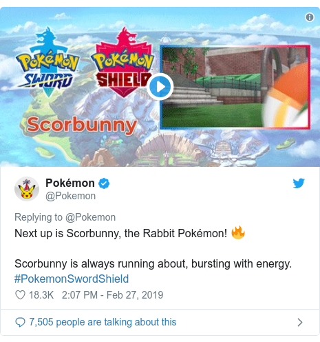 Twitter post by @Pokemon: Next up is Scorbunny, the Rabbit Pokémon! 🔥Scorbunny is always running about, bursting with energy. #PokemonSwordShield
