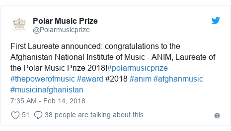 د @Polarmusicprize په مټ ټویټر  تبصره : First Laureate announced  congratulations to the Afghanistan National Institute of Music - ANIM, Laureate of the Polar Music Prize 2018!#polarmusicprize #thepowerofmusic #award #2018 #anim #afghanmusic #musicinafghanistan