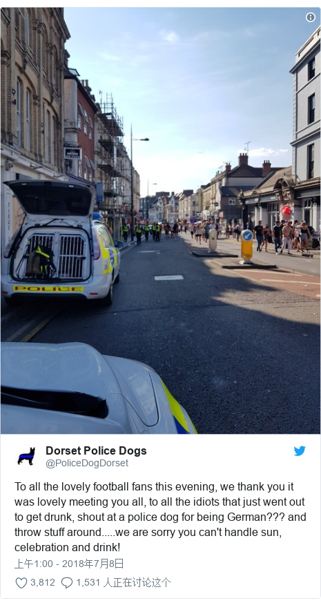 Twitter 用户名 @PoliceDogDorset: To all the lovely football fans this evening, we thank you it was lovely meeting you all, to all the idiots that just went out to get drunk, shout at a police dog for being German??? and throw stuff around.....we are sorry you can't handle sun, celebration and drink!