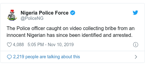 Twitter post by @PoliceNG: The Police officer caught on video collecting bribe from an innocent Nigerian has since been identified and arrested.