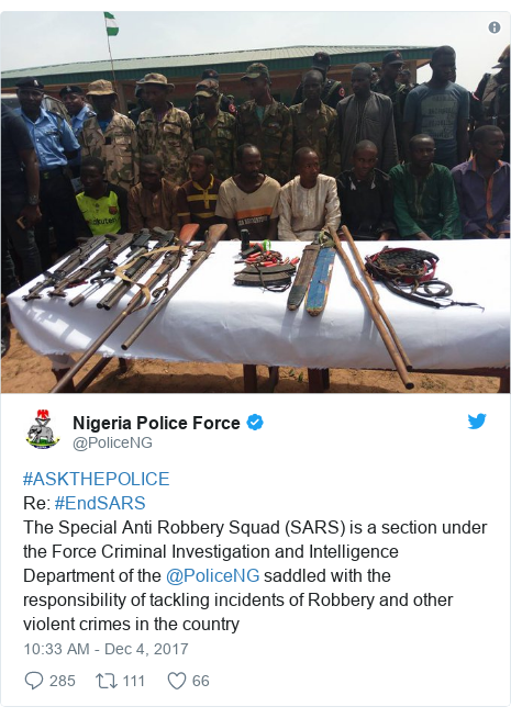 Twitter post by @PoliceNG: #ASKTHEPOLICE Re  #EndSARS The Special Anti Robbery Squad (SARS) is a section under the Force Criminal Investigation and Intelligence Department of the @PoliceNG saddled with the responsibility of tackling incidents of Robbery and other violent crimes in the country