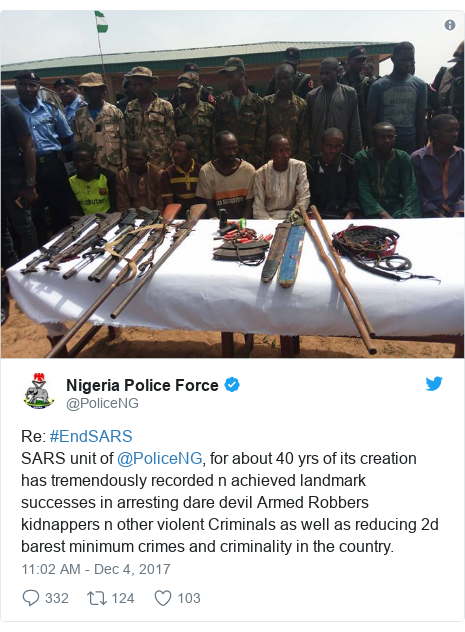 Twitter post by @PoliceNG: Re  #EndSARSSARS unit of @PoliceNG, for about 40 yrs of its creation has tremendously recorded n achieved landmark successes in arresting dare devil Armed Robbers kidnappers n other violent Criminals as well as reducing 2d barest minimum crimes and criminality in the country.
