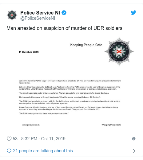 Twitter post by @PoliceServiceNI: Man arrested on suspicion of murder of UDR soldiers
