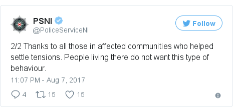 Twitter post by @PoliceServiceNI