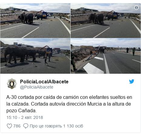 Twitter допис, автор: @PoliciaAlbacete: A-30 cortada por caída de camión con elefantes sueltos en la calzada. Cortada autovía dirección Murcia a la altura de pozo Cañada.