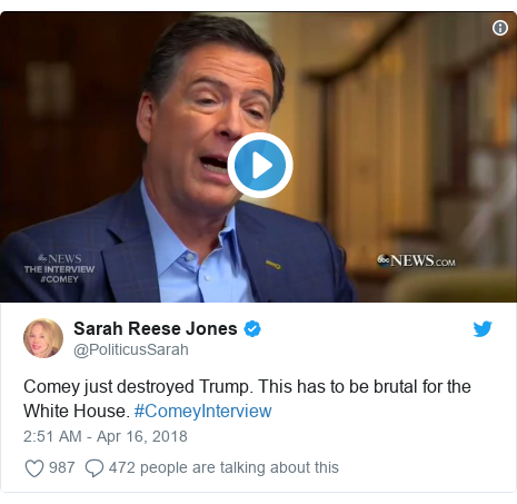 Twitter post by @PoliticusSarah: Comey just destroyed Trump. This has to be brutal for the White House. #ComeyInterview