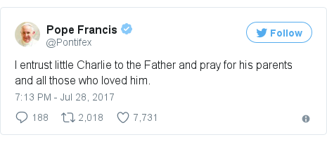 Twitter post by @Pontifex