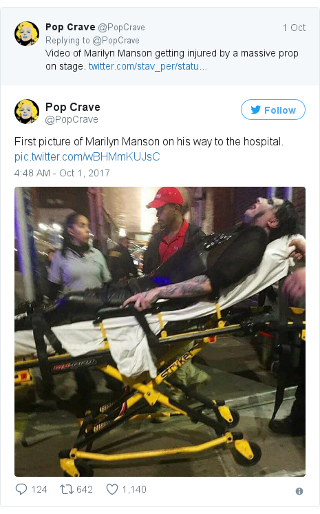 Twitter post by @PopCrave: First picture of Marilyn Manson on his way to the hospital. pic.twitter.com/wBHMmKUJsC