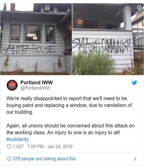 Twitter post by @PortlandIWW: We're really disappointed to report that we'll need to be buying paint and replacing a window, due to vandalism of our building. Again, all unions should be concerned about this attack on the working class. An injury to one is an injury to all! #solidarity