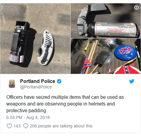 Twitter post by @PortlandPolice: Officers have seized multiple items that can be used as weapons and are observing people in helmets and protective padding.
