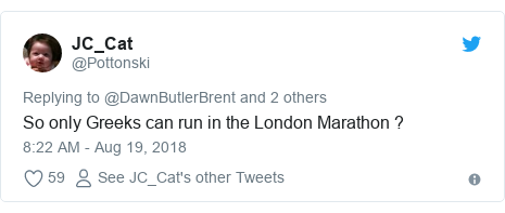 Twitter post by @Pottonski: So only Greeks can run in the London Marathon ?