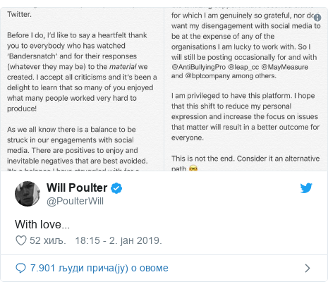 Twitter post by @PoulterWill: With love...