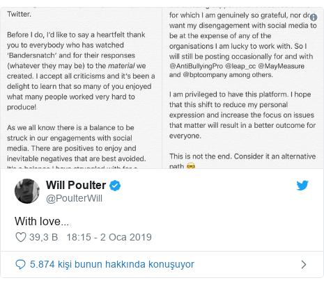 @PoulterWill tarafından yapılan Twitter paylaşımı: With love...