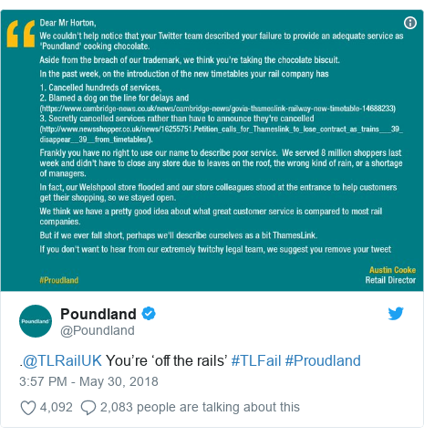 Twitter post by @Poundland: .@TLRailUK You're 'off the rails' #TLFail #Proudland